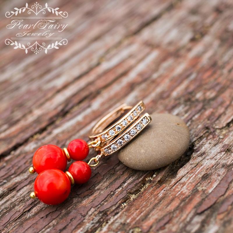 Позолоченные серьги натуральные кораллы и кристаллы Красный позолота, металлическая ф Гармаш Елена - фото 3