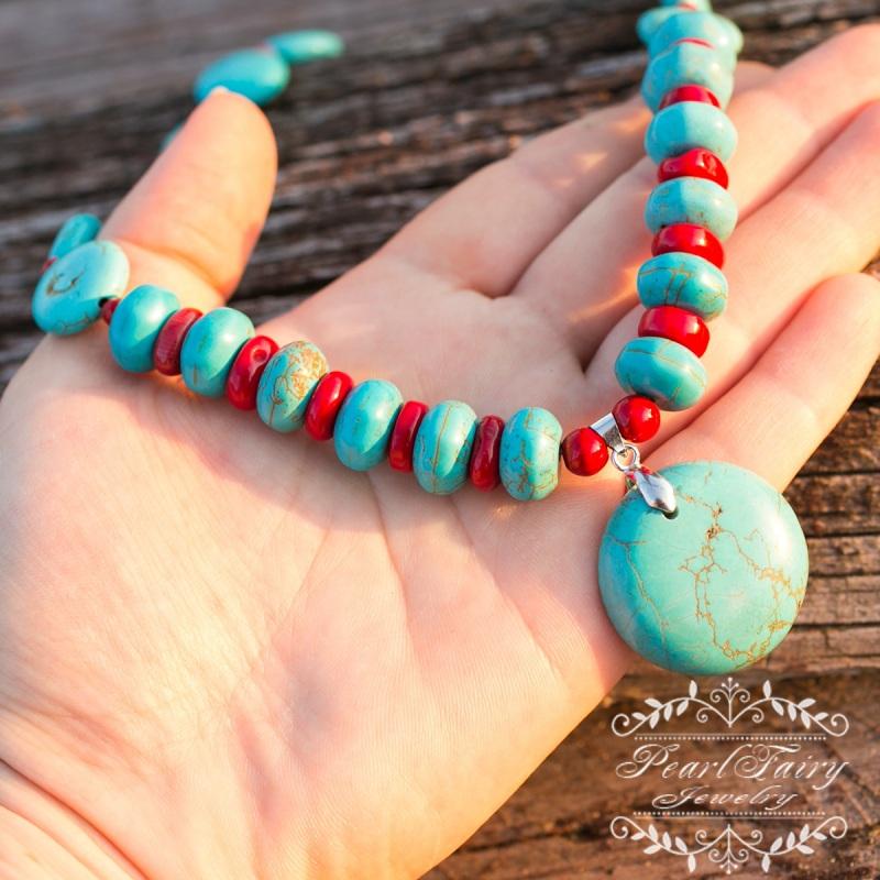 Комплект бирюза и натуральные кораллы ожерелье серьги Разноцветный бирюза прессованная, кора Гармаш Елена - фото 3