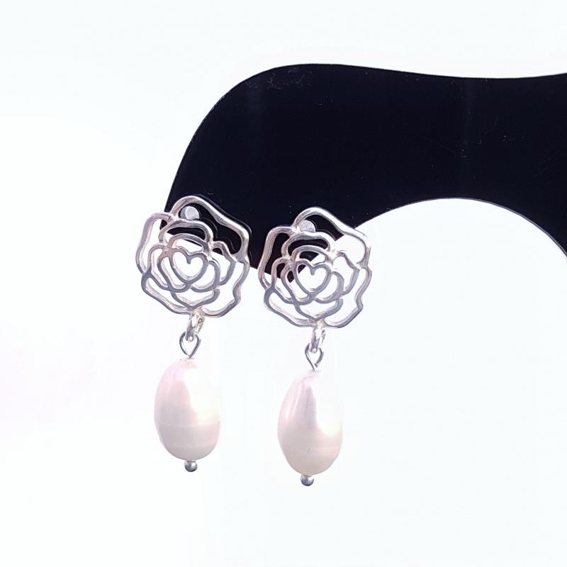 Серебряные серьги с натуральным жемчугом и розами Белый серебро 925, натуральный Гармаш Елена - фото 5