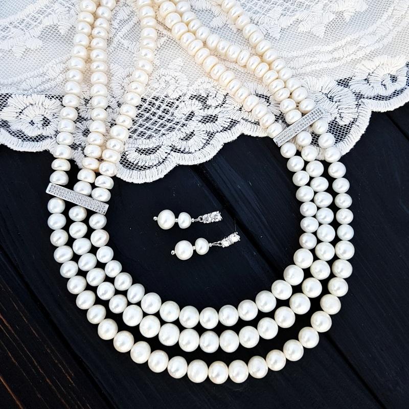 Трехрядное колье из жемчуга и кристаллов Белый Натуральный белый жемчуг Гармаш Елена - фото 4