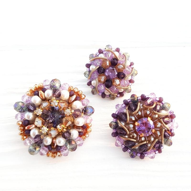 Сет 3 броши с кристаллами Swarovski: цвет на заказ Разноцветный хрустальные бусинки, крис Гармаш Елена - фото 1