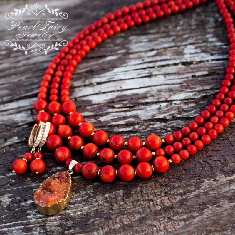 Позолоченные серьги натуральные кораллы и кристаллы Красный позолота, металлическая ф Гармаш Елена - фото 4