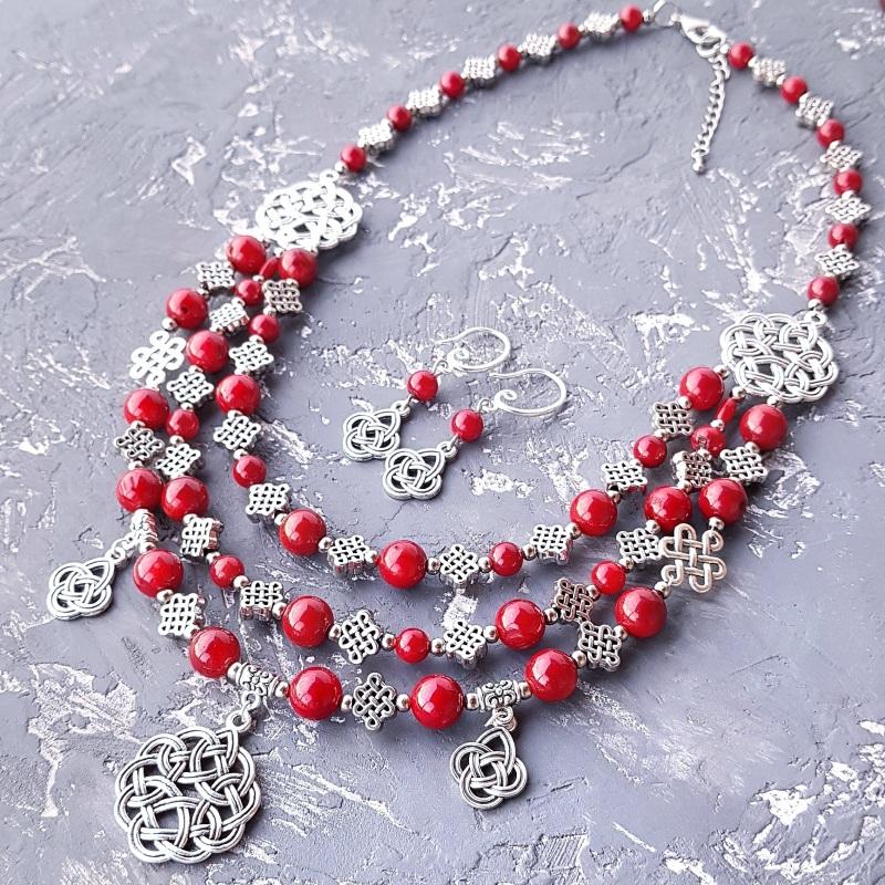 Комплект из натурального коралла колье и серьги Красный натуральные кораллы, мета Гармаш Елена - фото 1