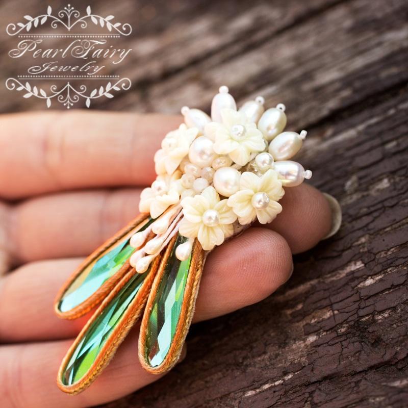 Брошь из натурального жемчуга и кристаллов букет цветов  натуральный жемчуг, керам Гармаш Елена - фото 3