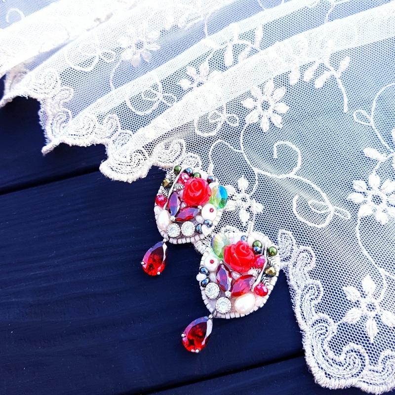 Серьги с натуральным жемчугом, кристаллами и серебром  натуральный белый жемчуг Гармаш Елена - фото 3