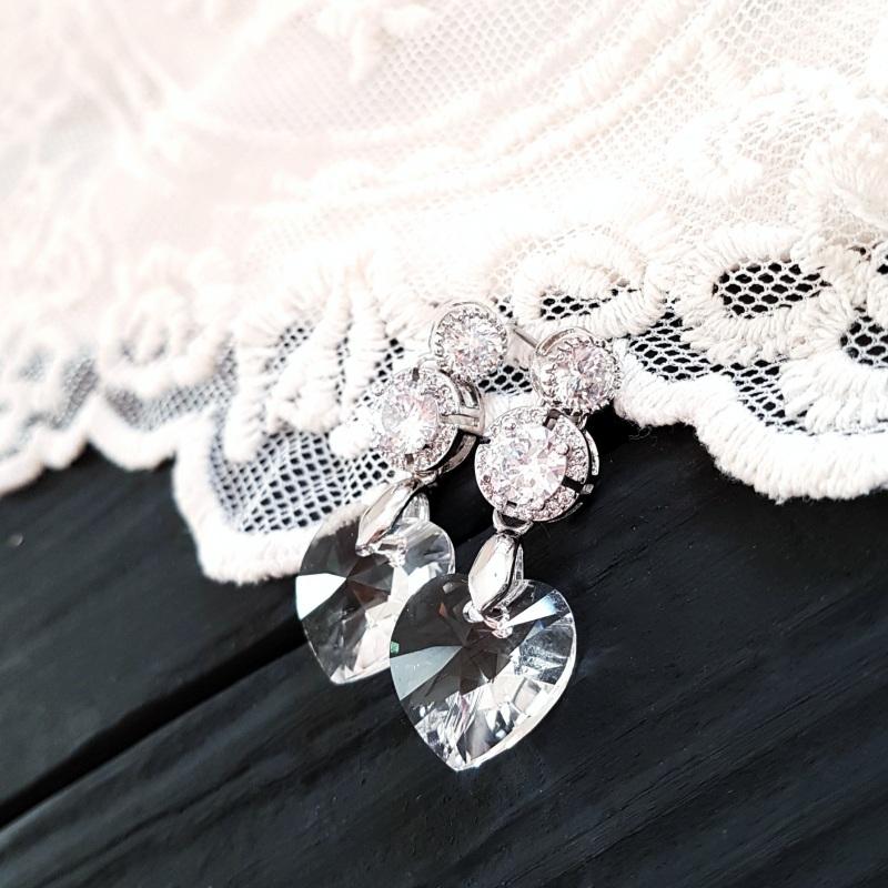 Серьги с сердцами Swarovski и цирконами Белый Кристаллы Swarovski cryst Гармаш Елена - фото 1