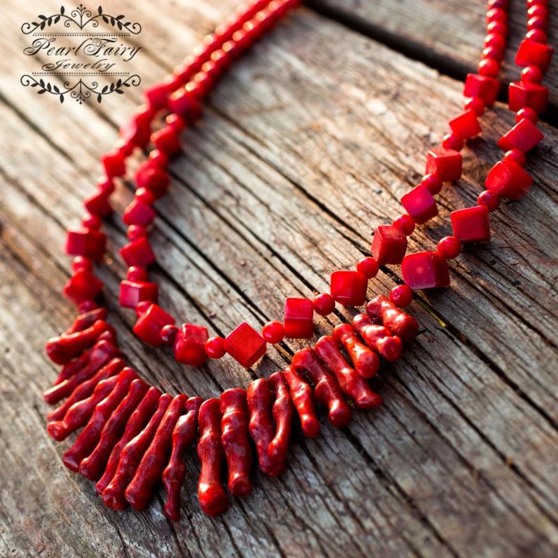 Ожерелье из натуральных кораллов Надра Красный натуральные кораллы, мета Гармаш Елена - фото 1