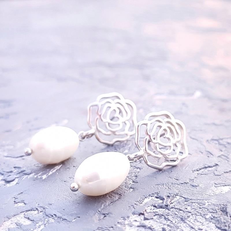 Серебряные серьги с натуральным жемчугом и розами Белый серебро 925, натуральный Гармаш Елена - фото 3