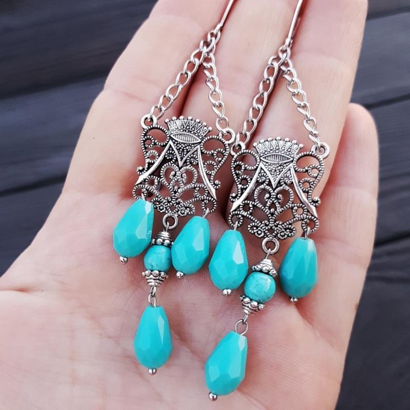 Комплект браслет и серьги из бирюзы и кристаллов Голубой Бирюза синтетическая, хру Гармаш Елена - фото 2