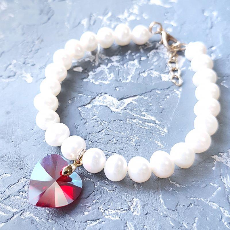 Натуральный жемчуг и кристаллы Сваровски браслет и серьги Белый жемчуг натуральный высоко Гармаш Елена - фото 3