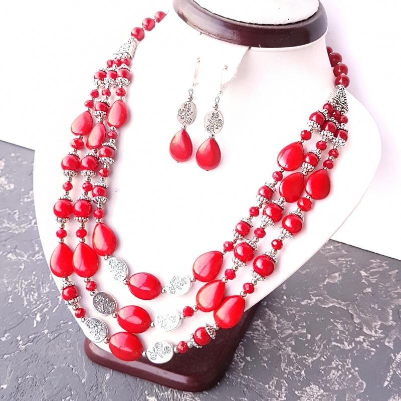 Ожерелье трехрядное кораллы и розы Красный кораллы имитация, хрустал Гармаш Елена - фото 3