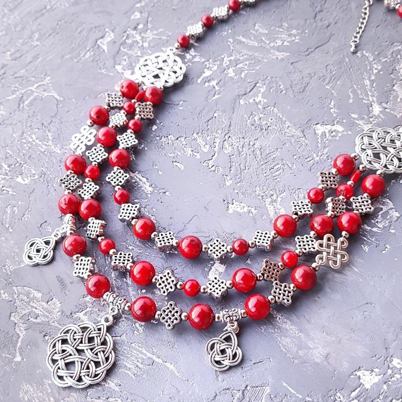 Ожерелье из натурального коралла с подвесками Красный натуральные кораллы, мета Гармаш Елена - фото 7