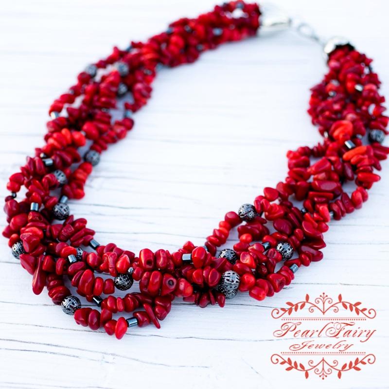 Пятирядное ожерелье из натуральных кораллов и гематита Красный натуральные кораллы, гема Гармаш Елена - фото 2