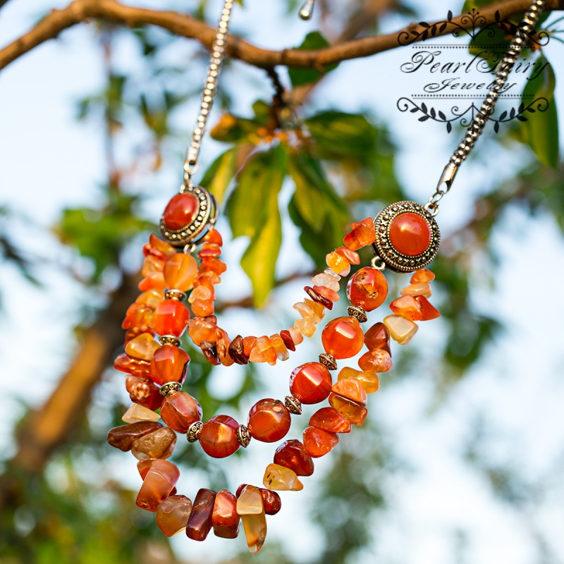 Колье из натурального сердолика Персик Красный натуральный сердолик, мет Гармаш Елена - фото 1