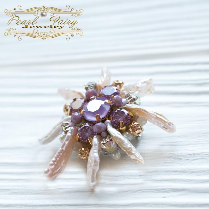 Брошь цветок жемчуга с кристаллами Swarovski Разноцветный Натуральный жемчуг Бива, Гармаш Елена - фото 3