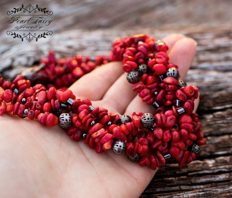 Комплект: натуральные кораллы пятирядные ожерелье и серьги Красный натуральные кораллы, мета Гармаш Елена - фото 4