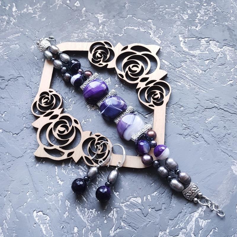 Веснаня колекція браслет з натуральних перлів та кварцу Фіолетовий натуральний кварц, натура Гармаш Олена - фото 3