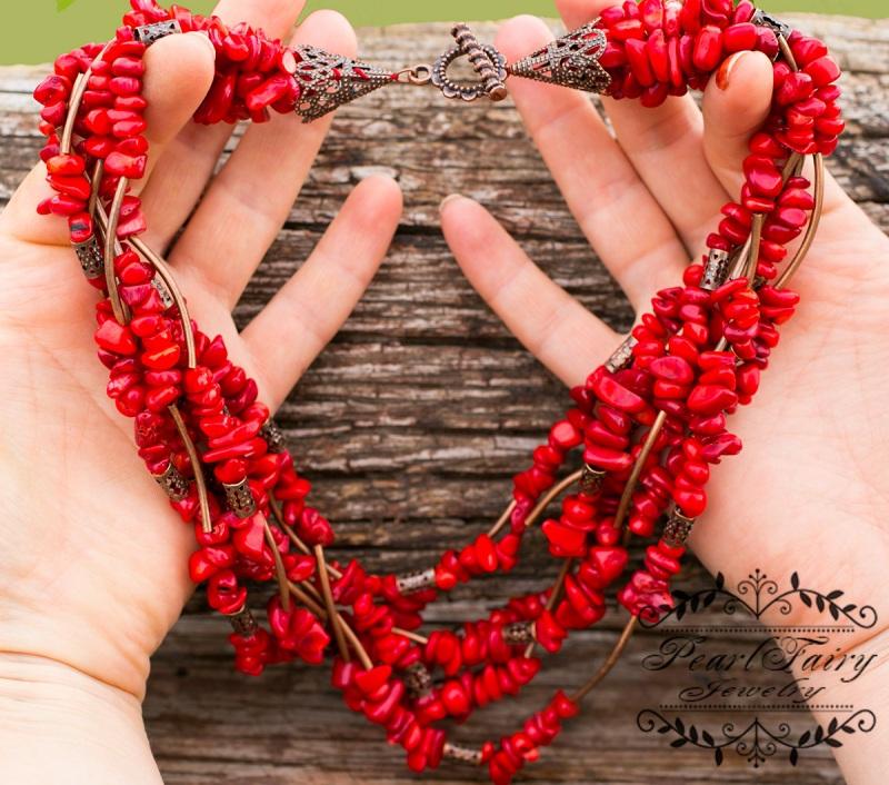 Ожерелье семирядное натуральные кораллы Красный натуральные кораллы, фурн Гармаш Елена - фото 5