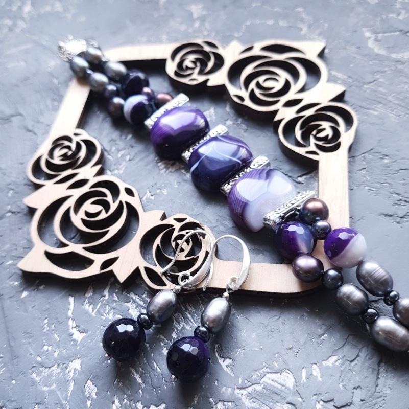 Веснаня колекція браслет з натуральних перлів та кварцу Фіолетовий натуральний кварц, натура Гармаш Олена - фото 4