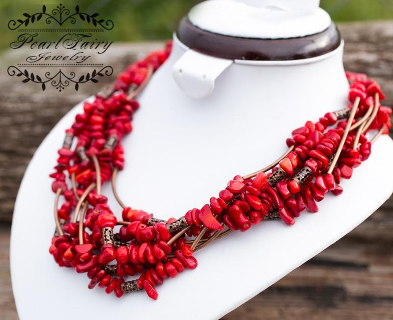 Ожерелье семирядное натуральные кораллы Красный натуральные кораллы, фурн Гармаш Елена - фото 6