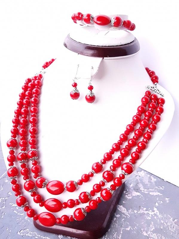 """Комплект """"Заграй!"""" ожерелье, браслет, серьги с серебряными застежками Красный кораллы имитация, металли Гармаш Елена - фото 6"""