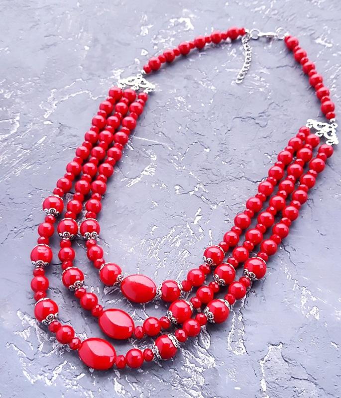 """Комплект """"Заграй!"""" ожерелье, браслет, серьги с серебряными застежками Красный кораллы имитация, металли Гармаш Елена - фото 2"""