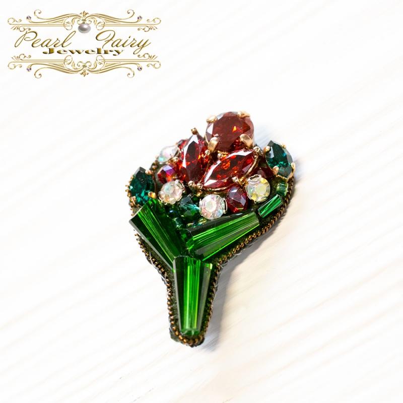 Брошь букет с кристаллами Swarovski и цирконами Зеленый Кристаллы Swarovski, крис Гармаш Елена - фото 1