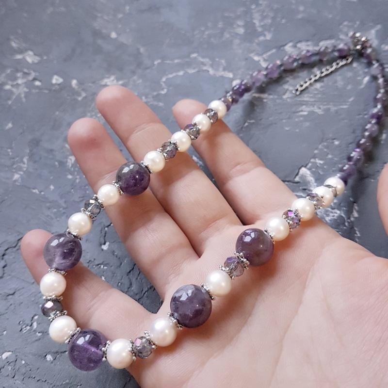 Намисто з натуральних перлів та аметисту  Фіолетовий Натуральні перли, натурал Гармаш Олена - фото 3
