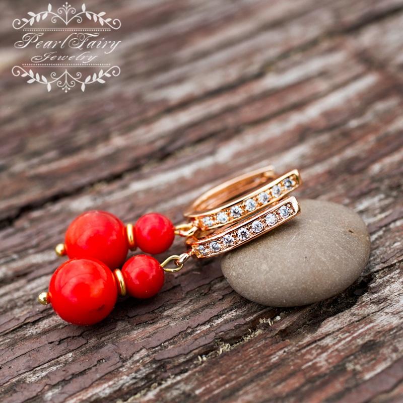 Позолоченные серьги натуральные кораллы и кристаллы Красный позолота, металлическая ф Гармаш Елена - фото 1