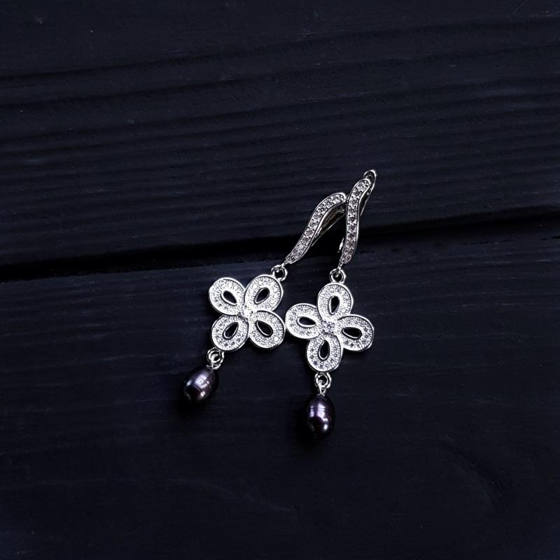 Сережки з натуральними білими чи чорними перлами та кристалами Чорний на вибір колір перлин біл Гармаш Олена - фото 5
