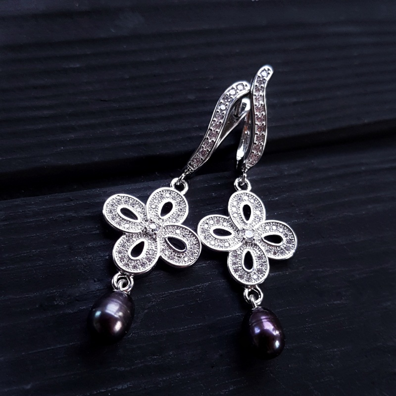 Сережки з натуральними білими чи чорними перлами та кристалами Чорний на вибір колір перлин біл Гармаш Олена - фото 3