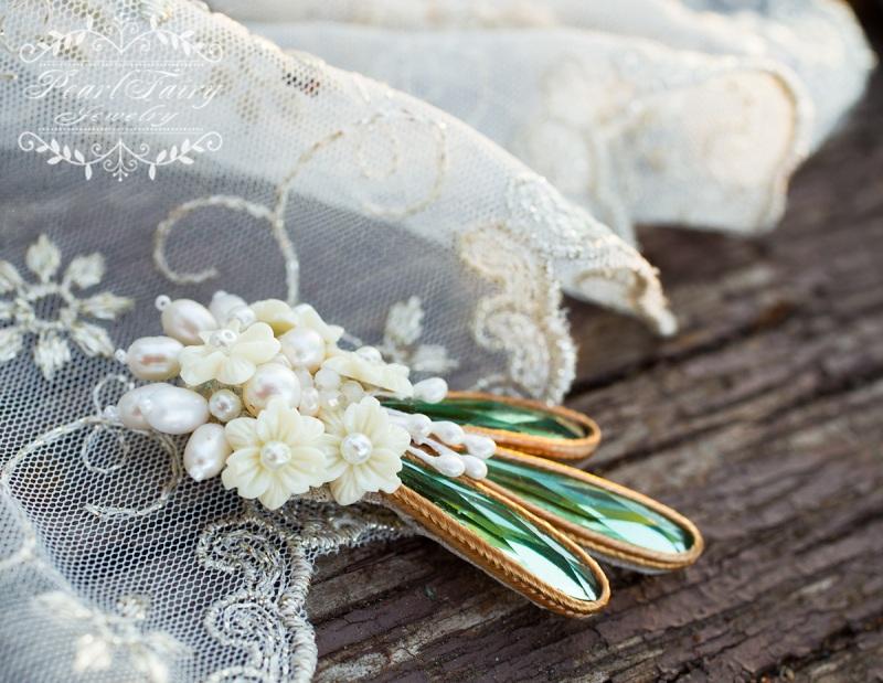 Брошь из натурального жемчуга и кристаллов букет цветов  натуральный жемчуг, керам Гармаш Елена - фото 2