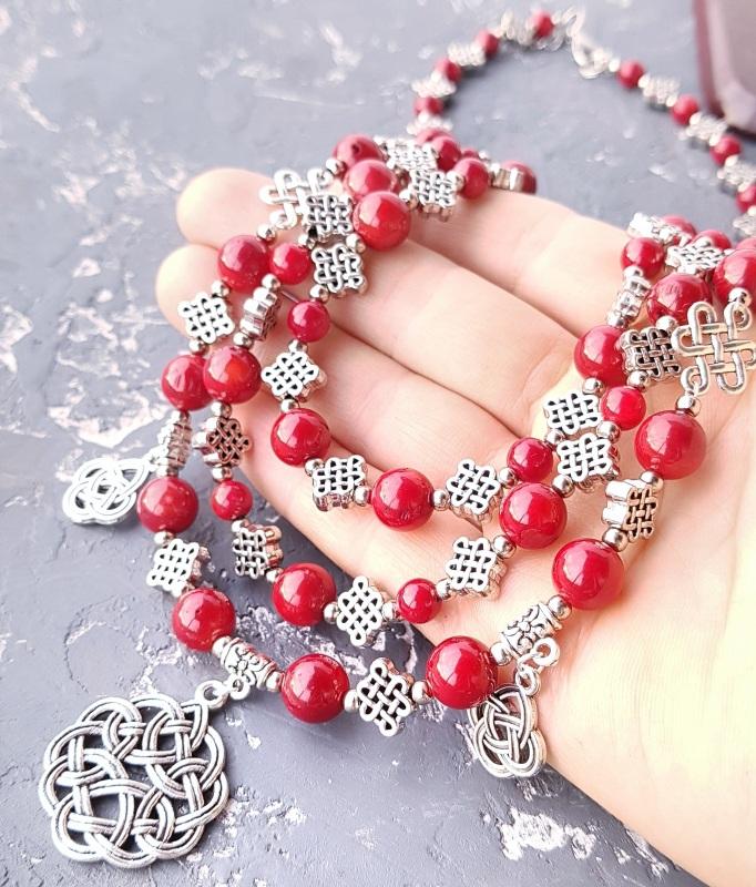 Ожерелье из натурального коралла с подвесками Красный натуральные кораллы, мета Гармаш Елена - фото 4