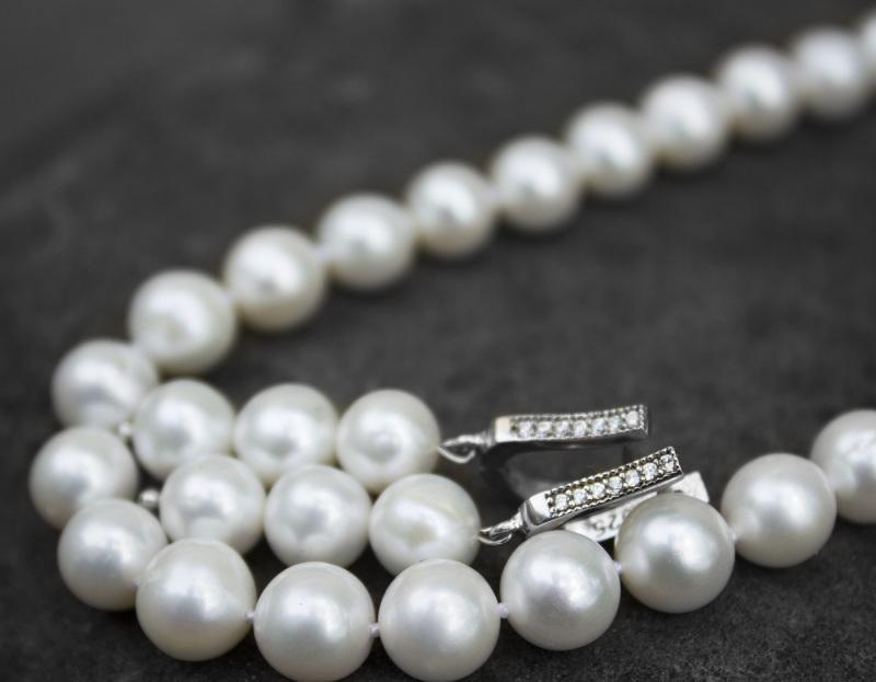 Срібні сережки з натуральними перлами і циркону Білий натуральні перли, срібло Гармаш Олена - фото 2