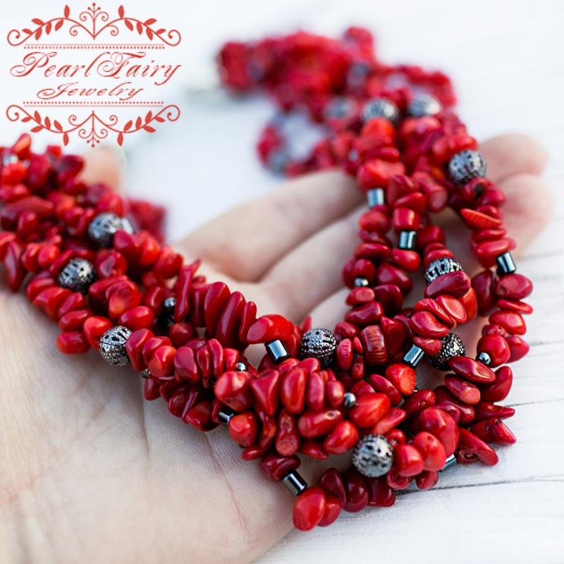 Пятирядное ожерелье из натуральных кораллов и гематита Красный натуральные кораллы, гема Гармаш Елена - фото 1