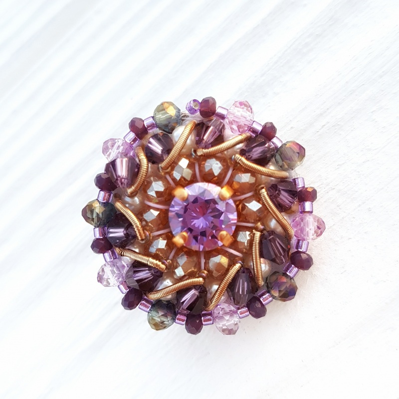 Сет 3 броши с кристаллами Swarovski: цвет на заказ Разноцветный хрустальные бусинки, крис Гармаш Елена - фото 4