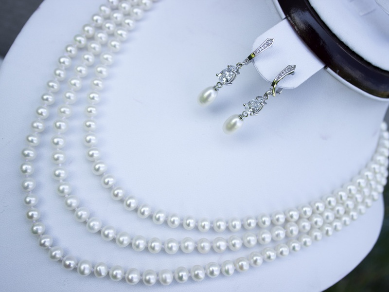 Жемчуг и цирконы серьги свадебные Белый натуральный жемчуг, цирко Гармаш Елена - фото 2