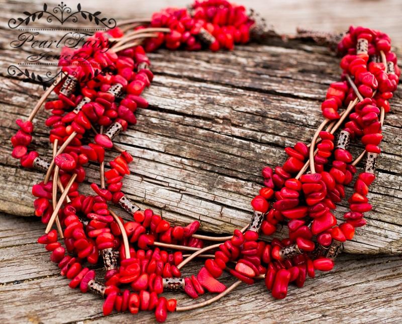 Ожерелье семирядное натуральные кораллы Красный натуральные кораллы, фурн Гармаш Елена - фото 2
