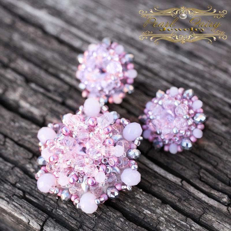 """Комплект брошь и серьги с кристаллами """"Smoky Rose"""" Розовый Кристаллы Риволи, хрустал Гармаш Елена - фото 2"""