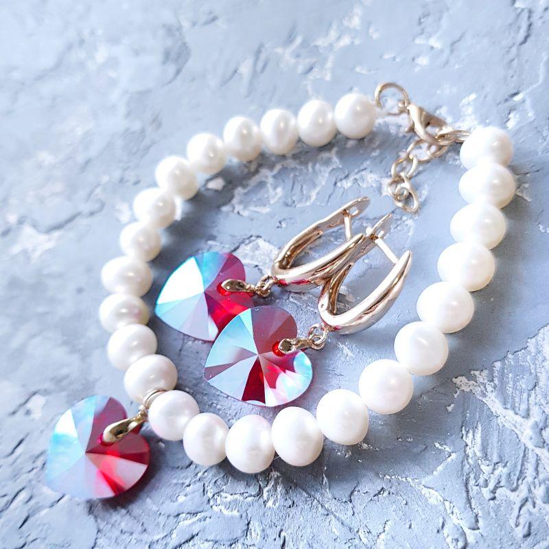 Натуральный жемчуг и кристаллы Сваровски браслет и серьги Белый жемчуг натуральный высоко Гармаш Елена - фото 1