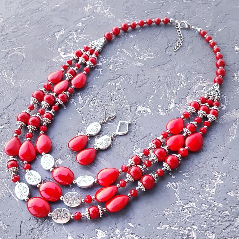 Ожерелье трехрядное кораллы и розы Красный кораллы имитация, хрустал Гармаш Елена - фото 4