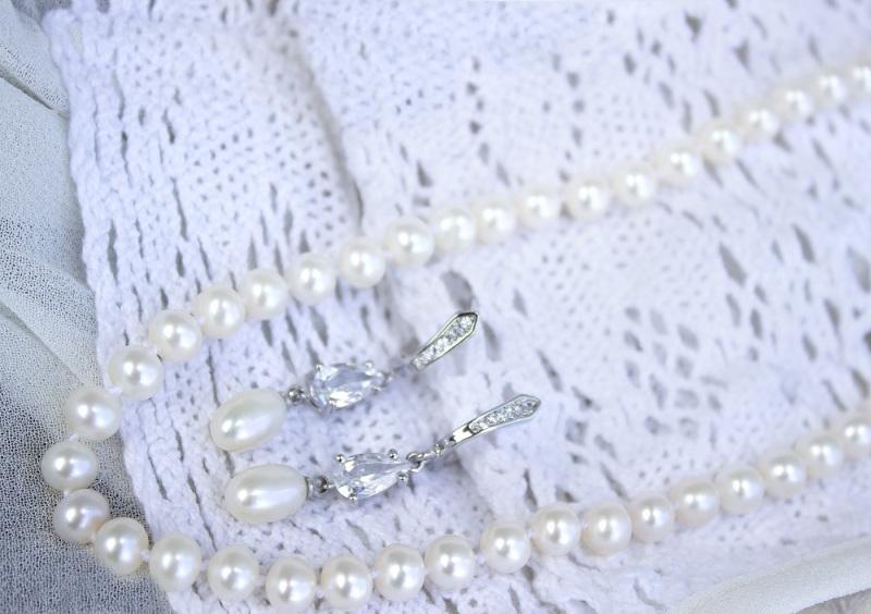 Жемчуг и цирконы серьги свадебные Белый натуральный жемчуг, цирко Гармаш Елена - фото 3