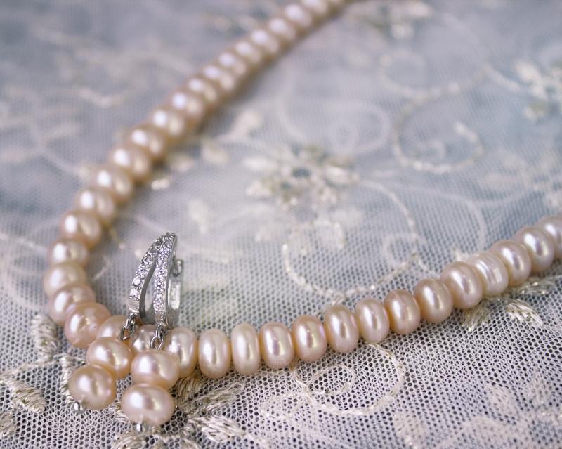 Серебро и жемчуг персиковый комплект Белый натуральный жемчуг, сереб Гармаш Елена - фото 3