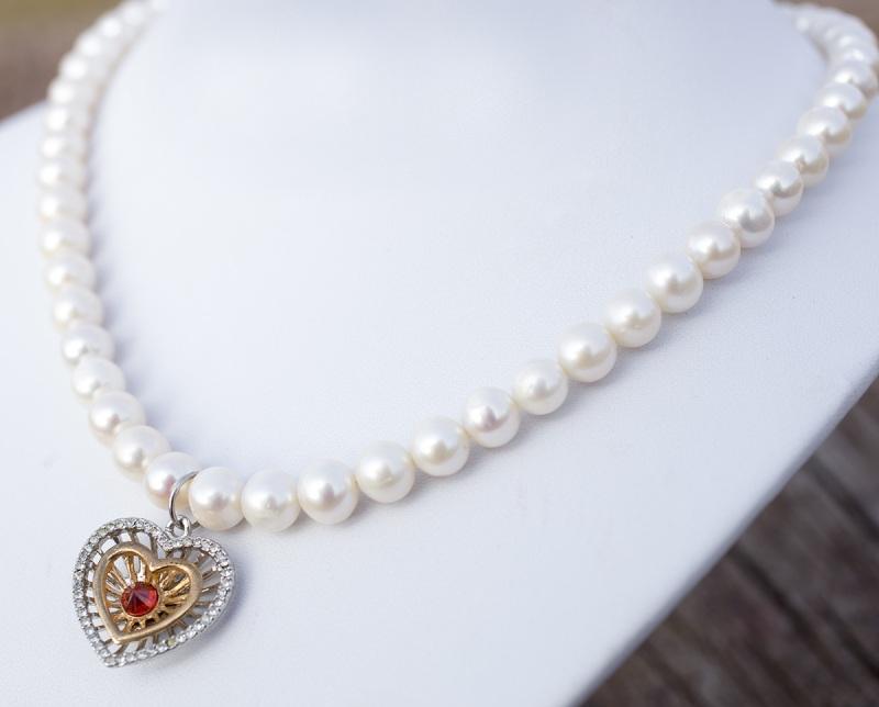Колье из натурального жемчуга сердце с красным цирконом Белый натуральный жемчуг, метал Гармаш Елена - фото 4