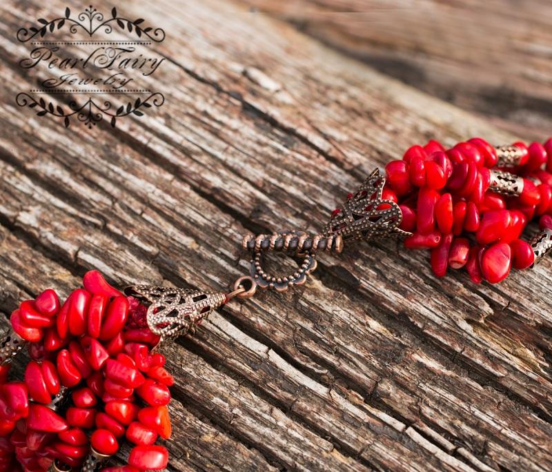 Ожерелье семирядное натуральные кораллы Красный натуральные кораллы, фурн Гармаш Елена - фото 4
