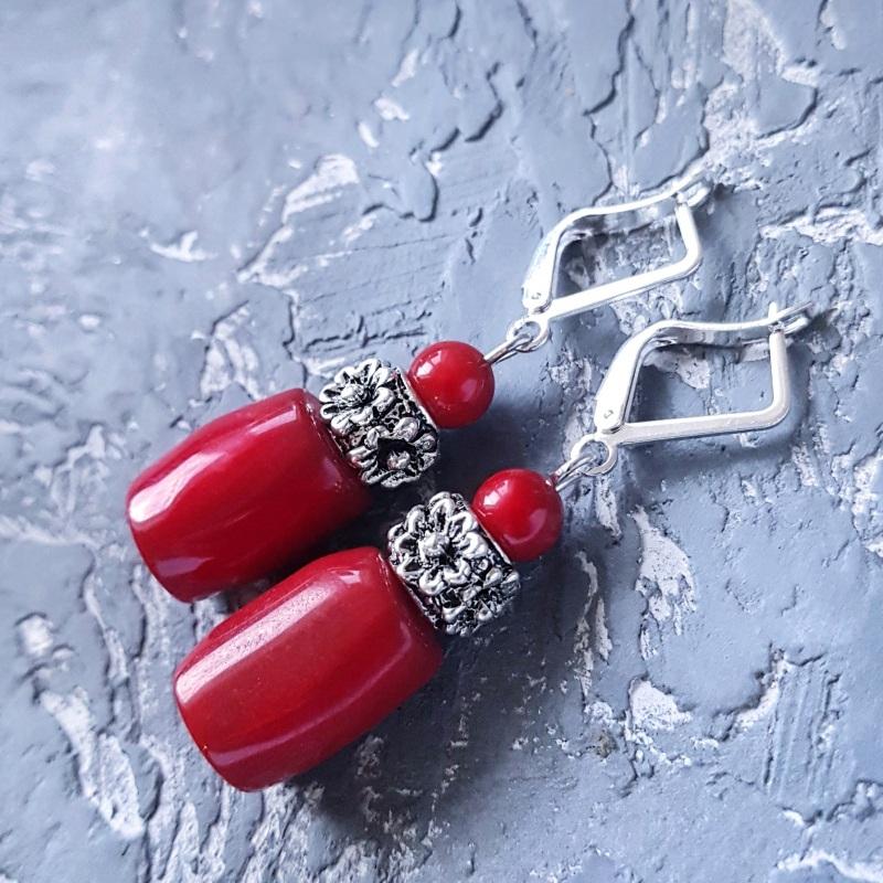 Серьги с натуральными кораллами и серебряными Красный Натуральные кораллы, мета Гармаш Елена - фото 5