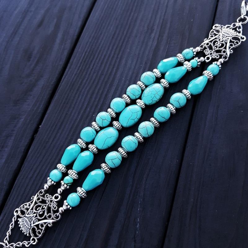 Комплект браслет и серьги из бирюзы и кристаллов Голубой Бирюза синтетическая, хру Гармаш Елена - фото 6