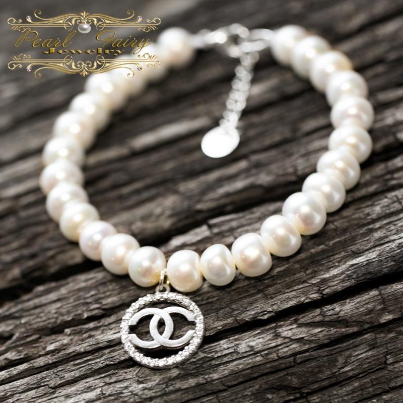 Браслет натуральный жемчуг и серебро 925 с цирконами Белый натуральный белый жемчуг, Гармаш Елена - фото 3