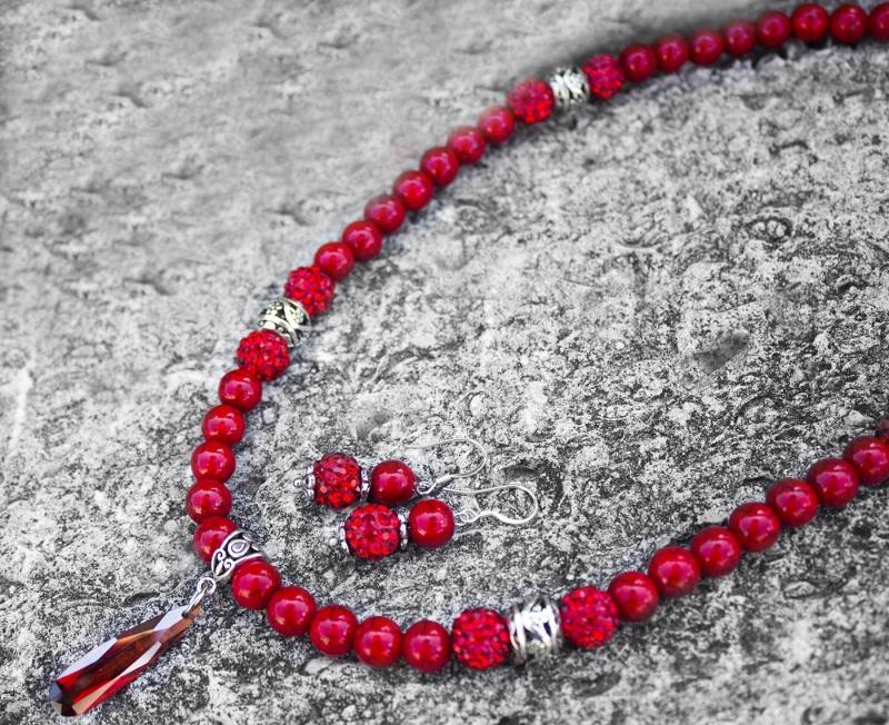 Комплект украшение колье и серьги кораллы с кристаллами Красный металлическая фурнитура, Гармаш Елена - фото 3