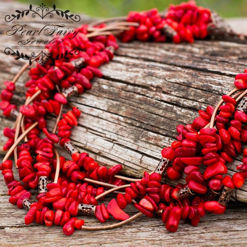 Ожерелье семирядное натуральные кораллы Красный натуральные кораллы, фурн Гармаш Елена - фото 1